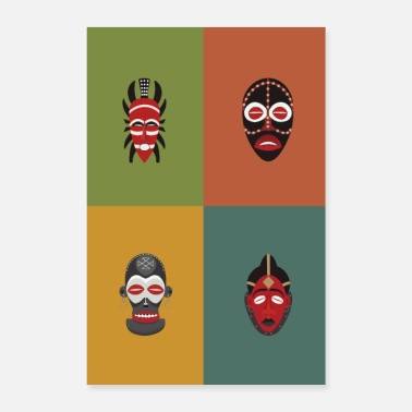 Ebony African masks, Africa, - Poster