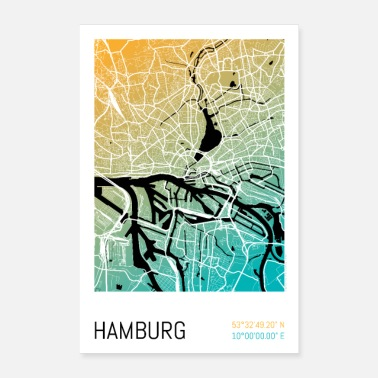 Karte Hamburg – Stadtplan Poster City Map (Gradient) - Poster