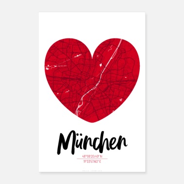Map Munich - City Map Map Map (Heart) - Poster