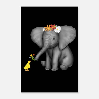Tusk Baby elephant & duck flowers elephants - Poster