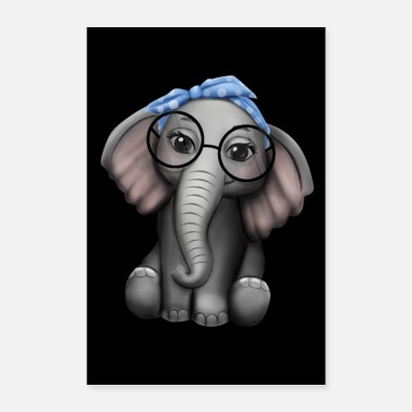 Tusk Elephant nerd glasses headband elephant - Poster