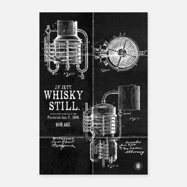 Whisky Whisky Still Patent - Affiche noire - Poster