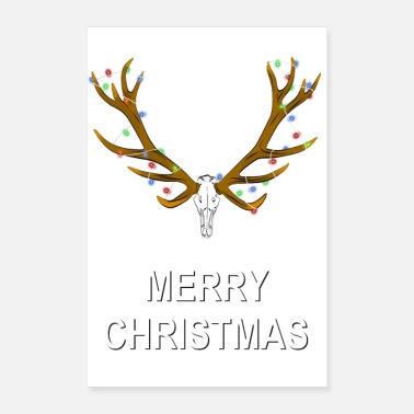 Gag Merry Christmas funny gag Deer trophy cartoon gift - Poster