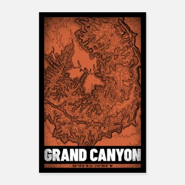 Nationalpark Grand Canyon | Landkarte Topografie (Grunge) - Poster