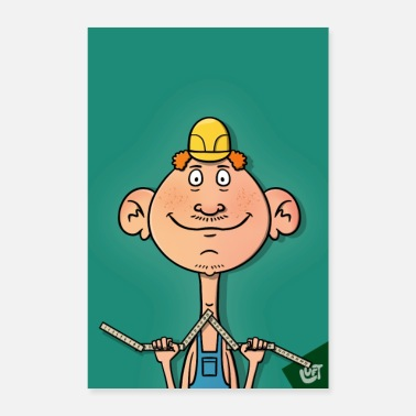 Fold Construction worker with folding rule, poster - Poster