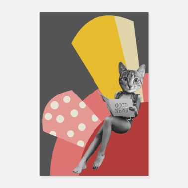 Vintage Funny Retro Cat Collage - Poster