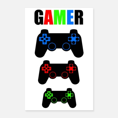 Console PLAYER WORD WITH CONTROLS OF GAMING CONSOLES - Poster