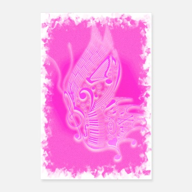 Piano Wing Music butterfly pink - Poster