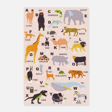 Tiere ABC Poster Tiere Kinderzimmer - Poster