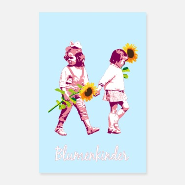 Power Flower children | Two girls with sunflowers - Poster