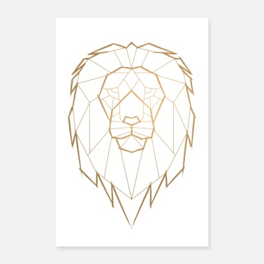 Poster Goud Lion King Geometrische geometrie Poster - goud - Poster