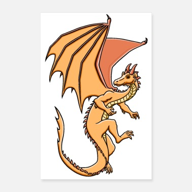 Klauen Drache, orange - Poster