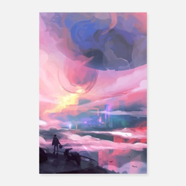 Horizon abstract painting man before sunrise - Poster