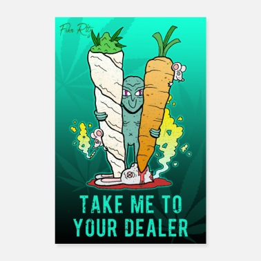 Alien Joint Gras Dealer Cannabis Funny Comic - Póster