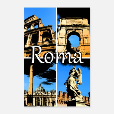 Romanesque Roma collage comic sign lettering - Poster