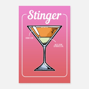 Stinger Stinger Cocktail Bar Drinks Barkeeper Mint Gift - Poster