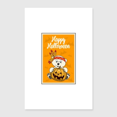Mummy Halloween pumpkin polar bear - Poster 16 x 24 (40x60 cm)