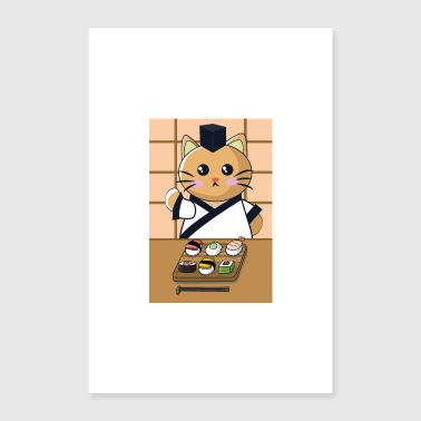 Cat is eating sushi - Poster 16 x 24 (40x60 cm)