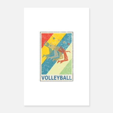 Recreational Retro Vintage Style Beach Volleyball Player - Poster 16 x 24 (40x60 cm)