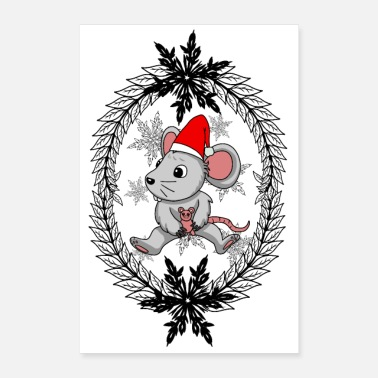 Baby Christmas Xmas fantasy baby mouse rodent kids - Poster