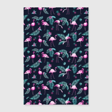 TROPICAL FLAMINGOS IN WATER COLORS - Poster 16 x 24 (40x60 cm)