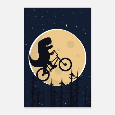 Ride Bike Dino rides a bike in the moonlight - Poster