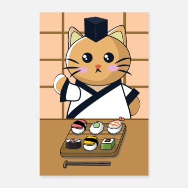 Cuisine Cat is eating sushi - Poster