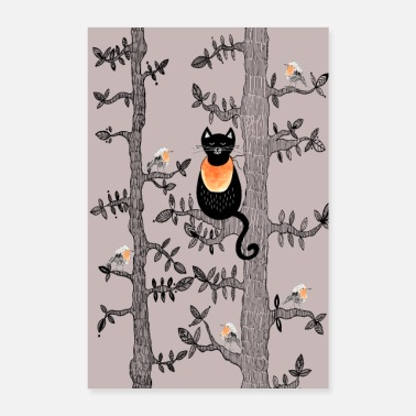Adorabile Poster Cat & Robins - Poster 40x60 cm