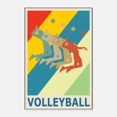 Beachvolleyball Retro Vintage Style Beach Volleyball Spieler - Poster