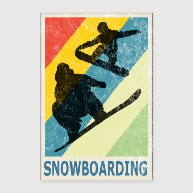 Freestyle Vintage Retro Style Snowboarding Snowboarder Sport - Poster 16 x 24 (40x60 cm)