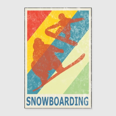 Freestyle Vintage Retro Style Snowboarding Snowboarder Sport - Poster 40x60 cm