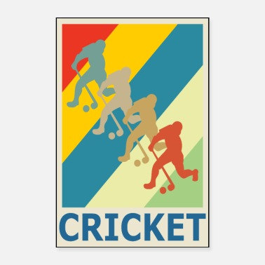 Style Retro Vintage Style Cricket Player Sport - Póster 40x60 cm