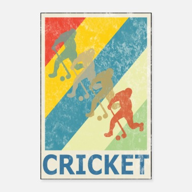 Baseball Retro Vintage Style Cricket Player Sport - Poster 16 x 24 (40x60 cm)