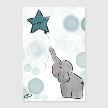 Glad Js Sweety Elephant - Poster 40x60 cm