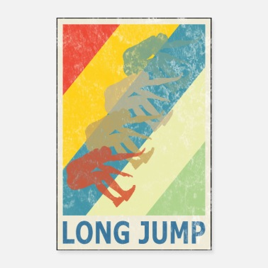 Sprinting Retro Vintage Style Long Jump Wide Jump - Poster 16 x 24 (40x60 cm)