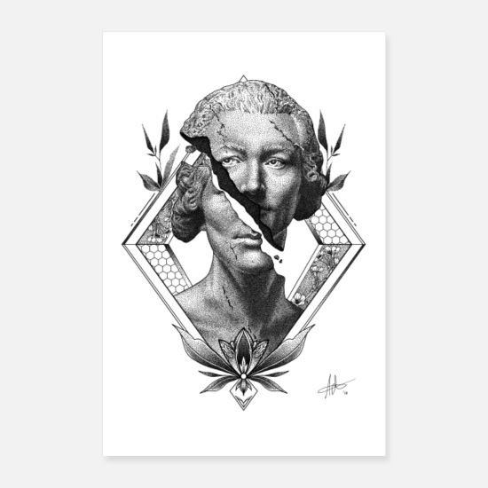Graphique Posters - Statue Dotwork Illustration - Poster blanc
