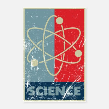 Science atom model scratched used look - Poster