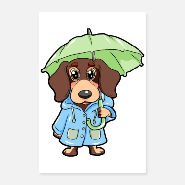 Badger Badger Dachshund Dog Umbrella Raincoat - Poster