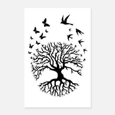 Life tree of life clouds bird butterflies tree zen black - Poster