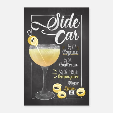 Restaurant Side car Cocktail Bar Rezept Geschenk - Poster 40x60 cm