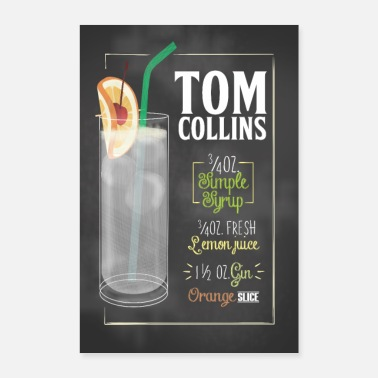 Opskrift Tom Collins Cocktail Opskrift Gave Plakat - Poster