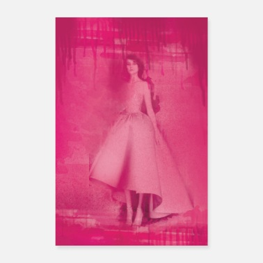 Fashion fashion illustration vintage pink - Poster 16 x 24 (40x60 cm)
