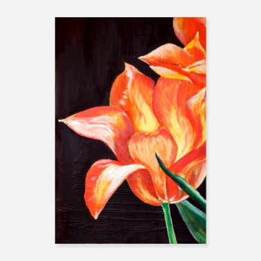 Hollande tulipe fleur peinture orange holland art acrylique art - Poster