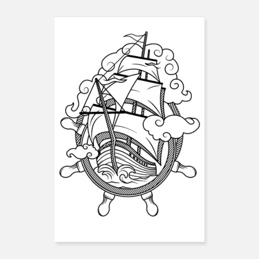 Pirate Ship Shipping lake boat ship pirate captain - Poster