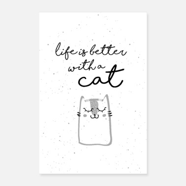 Handlettering life is better with a cat - Poster