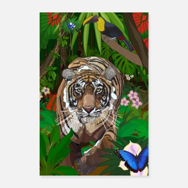 Dicht Jungle Tiger Poster - Poster