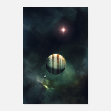 Gas Gas giant with moon and sun in outer space - Poster