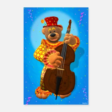 Bass Player Dinky Bears clown with bass - Poster