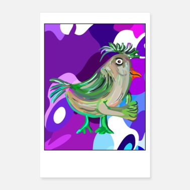 Funky Pollo funky, stile poster psichedelico - Poster