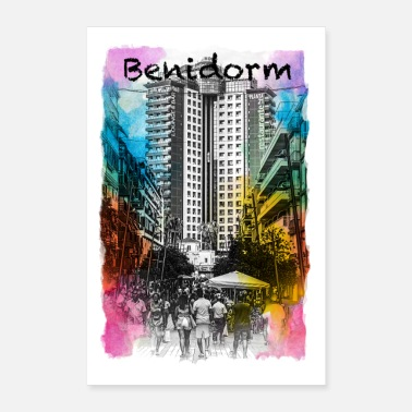Colourful Benidorm in colour - Poster